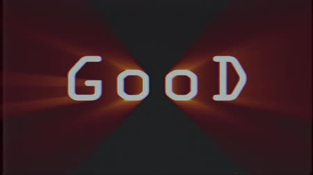 błąd : shiny GOOD word text on old computer tv effect glitch interference noise screen animation black background seamless loop - New quality universal retro vintage motion colorful motivation video