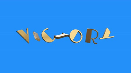 премия : golden VICTORY word gathering from letters parts spin animation on blue screen background - new quality unique financial business animated dynamic motivation motion text glamour video footage Стоковые видеозаписи