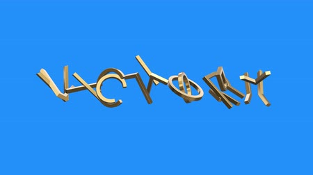 slova : golden VICTORY word gathering from letters parts spin animation on blue screen background - new quality unique financial business animated dynamic motivation motion text glamour video footage Dostupné videozáznamy