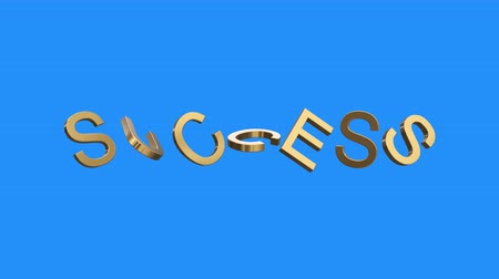suceder : golden SUCCESS word gathering from letters parts spin animation on blue screen background - new quality unique financial business animated dynamic motivation motion text glamour video footage Vídeos