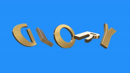 suceder : golden GLORY word gathering from letters parts spin animation on blue screen background - new quality unique financial business animated dynamic motivation motion 3d text glamour video footage