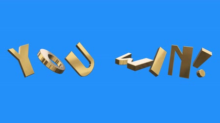 sortudo : golden YOU WIN word gathering from letters parts spin animation on blue screen background - new quality unique financial business animated dynamic motivation motion text glamour video footage