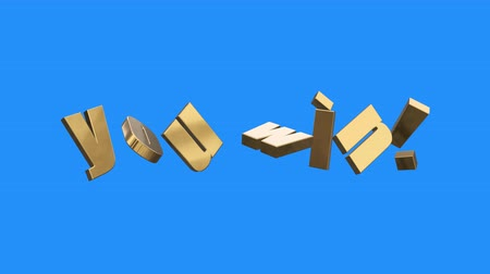suceder : golden YOU WIN word gathering from letters parts spin animation on blue screen background - new quality unique financial business animated dynamic motivation motion text glamour video footage