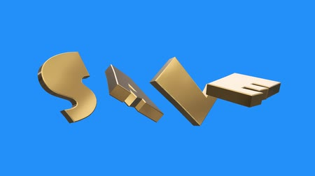 pieniądze : golden SALE word gathering from letters parts spin animation on blue screen background - new quality unique financial business animated dynamic motivation motion text glamour video footage