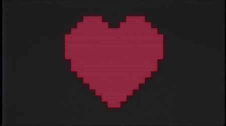 универсальный : pixel heart on computer old blured tv glitch interference noise screen animation seamless loop - New quality universal vintage motion dynamic animated background colorful joyful video