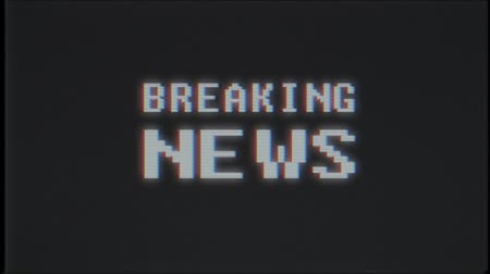 универсальный : pixel BREAKING NEWS word on computer old tv effect glitch interference noise screen animation seamless loop - New quality universal vintage motion dynamic animated background colorful joyful video