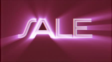 valóság : shiny Sale word text pink light rays moving on old tape retro effect tv screen animation background seamless loop New quality universal retro vintage colorful motivation video