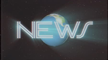 gazete : shiny retro NEWS text with earth globe light rays moving on old tape retro intro effect tv screen animation background seamless loop New quality universal vintage colorful motivation video