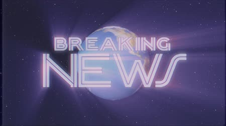 gazeta : shiny retro BREAKING NEWS text with earth globe light rays moving old tape retro intro effect tv screen animation background seamless loop New quality universal vintage colorful motivation video Wideo