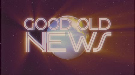 gazeta : shiny retro GOOD OLD NEWS text with earth globe light rays moving old tape retro intro effect tv screen animation background seamless loop New quality universal vintage colorful motivation video Wideo