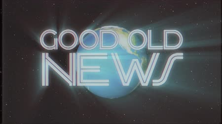 gazete : shiny retro GOOD OLD NEWS text with earth globe light rays moving old tape retro intro effect tv screen animation background seamless loop New quality universal vintage colorful motivation video Stok Video