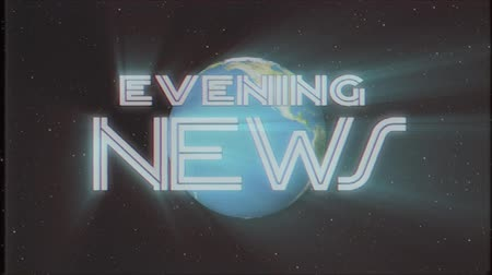 gazete : shiny retro EVENING NEWS text with earth globe light rays moving old tape retro intro effect tv screen animation background seamless loop New quality universal vintage colorful motivation video