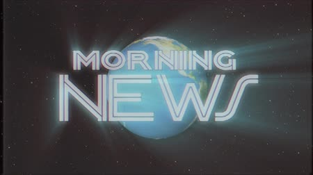 gazete : shiny retro MORNING NEWS text with earth globe light rays moving old tape retro intro effect tv screen animation background seamless loop New quality universal vintage colorful motivation video Stok Video
