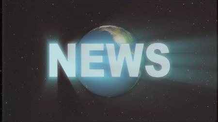 gazeta : shiny retro NEWS text with earth globe light rays moving on old vhs tape retro intro effect tv screen animation background seamless loop New quality universal vintage colorful motivation video Wideo
