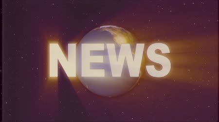 gazete : shiny retro NEWS text with earth globe light rays moving on old vhs tape retro intro effect tv screen animation background seamless loop New quality universal vintage colorful motivation video Stok Video