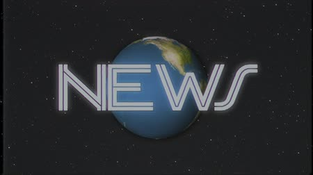 универсальный : shiny retro NEWS text with earth globe moving on old tape retro intro effect tv screen animation background seamless loop New quality universal vintage colorful motivation video Стоковые видеозаписи