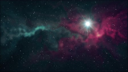solar : lone big star flickering shine in soft moving nebula stars night sky animation background new quality nature scenic cool colorful light video footage Stock Footage