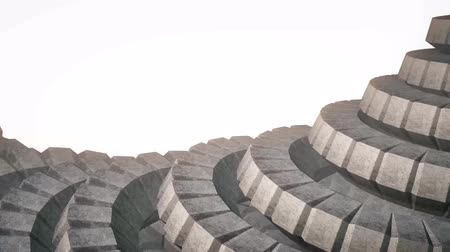 żelazko : snake worm spine like 3d concrete gears rotating mechanism seamless loop abstract animation background new quality colorful cool nice beautiful video footage
