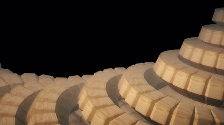 cobra : snake worm spine like 3d wooden gears rotating mechanism seamless loop abstract animation background new quality colorful cool nice beautiful video footage Vídeos