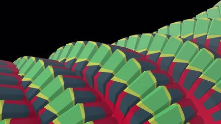 cobra : snake worm spine like 3d native striped gears rotating mechanism seamless loop abstract animation background new quality colorful cool nice beautiful video footage