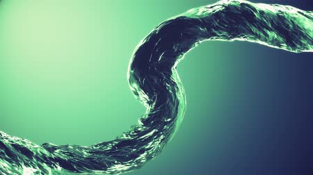 kolumna : Pouring surreal curved water column stream digital simulation seamless loop slow motion isolated animation on gradient background new quality natural motion graphics cool nice beautiful 4k footage