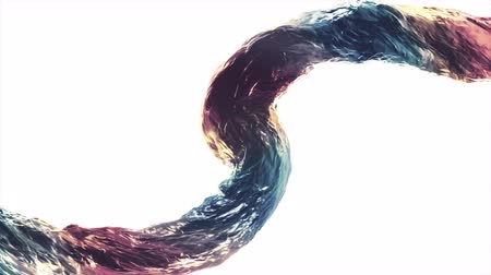 абстрактный фон : Pouring surreal curved rainbow water column stream digital simulation seamless loop slow motion isolated animation on gradient background new quality natural motion graphics cool nice beautiful 4k foo