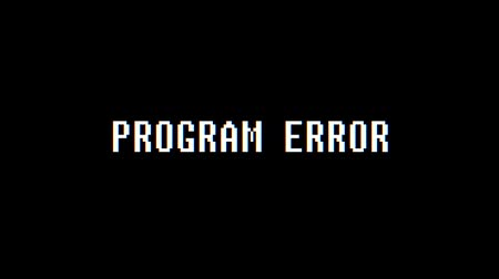 gry komputerowe : retro videogame PROGRAM ERROR text computer old tv glitch interference noise screen animation seamless loop New quality universal vintage motion dynamic animated background colorful joyful video