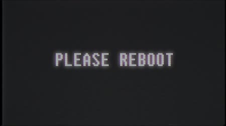 computer program : retro videogame PLEASE REBOOT text computer old tv glitch interference noise screen animation seamless loop New quality universal vintage motion dynamic animated background colorful joyful video