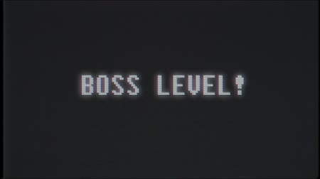 obsoleto : retro videogame BOSS LEVEL text computer old tv glitch interference noise screen animation seamless loop New quality universal vintage motion dynamic animated background colorful joyful video
