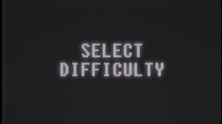 počítačová grafika : retro videogame SELECT DIFFICULTY text computer old tv glitch interference noise screen animation seamless loop New quality universal vintage motion dynamic animated background colorful joyful video