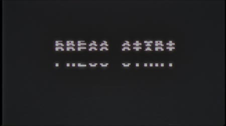 obsoleto : retro videogame PRESS START text computer old tv glitch interference noise screen animation seamless loop New quality universal vintage motion dynamic animated background colorful joyful video Stock Footage