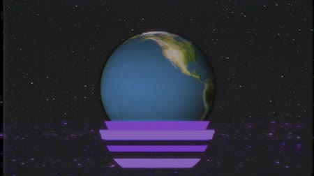 distorsiyon : earth globe rotating in stars space old tape glitch noise interference retro intro effect tv screen animation background loop New quality universal retro vintage colorful cool nice video footage