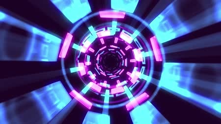 vég : Flight in out through block neon lights abstract cyber tunnel motion graphics animation background loop new quality retro futuristic vintage style cool nice beautiful video footage Stock mozgókép