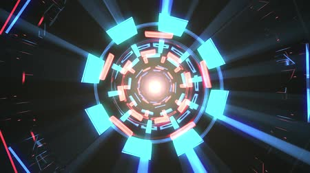 bending : Flight in out through block neon lights abstract cyber tunnel motion graphics animation background loop new quality retro futuristic vintage style cool nice beautiful video footage Stock Footage