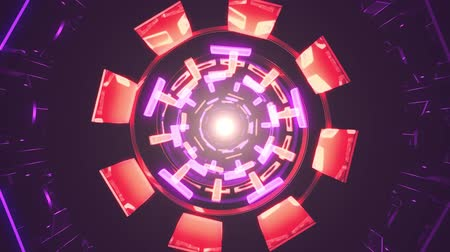 telekomünikasyon : Flight in out through block neon lights abstract cyber tunnel motion graphics animation background loop new quality retro futuristic vintage style cool nice beautiful video footage Stok Video