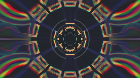 lif : Flight in out through block neon lights kaleidoscopic abstract cyber tunnel motion graphics animation background loop new quality retro futuristic vintage style cool nice beautiful video footage
