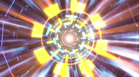 lif : Flight in out through block neon hyperspace lights cyber tunnel motion graphics animation background loop new quality retro futuristic vintage style cool nice beautiful video footage Stok Video