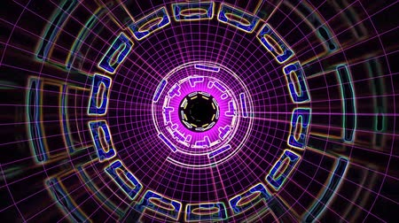 lézer : Flight in out through block grid neon lights abstract cyber tunnel motion graphics animation background loop new quality retro futuristic vintage style cool nice beautiful video footage