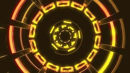 vég : Flight in out through block grid neon lights abstract cyber tunnel motion graphics animation background loop new quality retro futuristic vintage style cool nice beautiful video footage