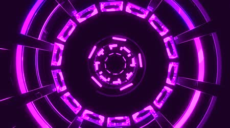 коридор : Flight in out through block grid neon lights abstract cyber tunnel motion graphics animation background loop new quality retro futuristic vintage style cool nice beautiful video footage