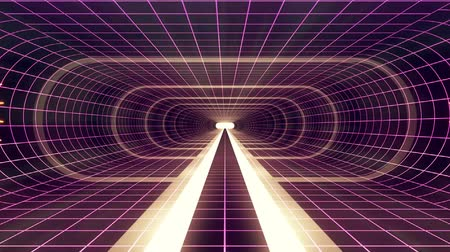 коридор : In out flight through VR White neon purple grid GREEN lights cyber tunnel HUD interface motion graphics animation background new quality retro futuristic vintage style cool nice beautiful video footag