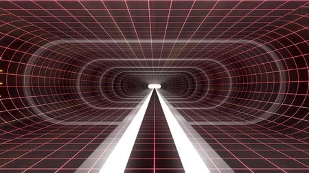 vég : In out flight through VR WHITE neon RED grid RED lights cyber tunnel HUD interface motion graphics animation background new quality retro futuristic vintage style cool nice beautiful video footag