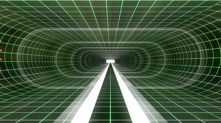 telekomünikasyon : In out flight through VR WHITE neon GREEN grid YELLOW lights cyber tunnel HUD interface motion graphics animation background new quality retro futuristic vintage style cool nice beautiful video footag Stok Video
