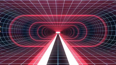 adatbázis : In out flight through VR RED neon BLUE grid BLUE lights cyber tunnel HUD interface motion graphics animation background new quality retro futuristic vintage style cool nice beautiful video foota