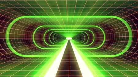 telekomünikasyon : In out flight through VR GREEN neon RED grid YELLOW lights cyber tunnel HUD interface motion graphics animation background new quality retro futuristic vintage style cool nice beautiful video footage