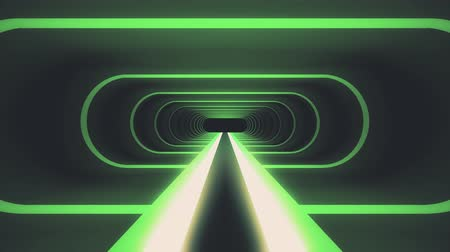 koniec : In out flight through neon green ribs lights energy cyber VR retro tunnel motion graphics animation background new quality futuristic vintage style cool nice beautiful video footage