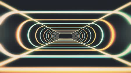 telekomünikasyon : endless neon rib lights abstract cyber tunnel flight motion graphics animation background seamless loop new quality retro futuristic vintage style cool nice beautiful video footage