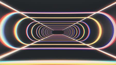 adatbázis : endless neon rib lights abstract cyber tunnel flight motion graphics animation background seamless loop new quality retro futuristic vintage style cool nice beautiful video footage