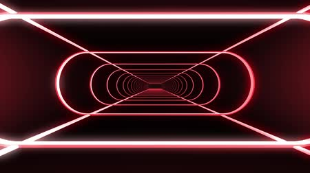 adatbázis : In out flight through neon rib lights abstract cyber tunnel motion graphics animation background new quality retro futuristic vintage style cool nice beautiful video footage