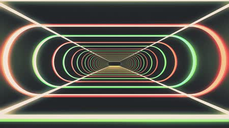 speed tunnel : In out flight through neon rib lights abstract cyber tunnel motion graphics animation background new quality retro futuristic vintage style cool nice beautiful video footage